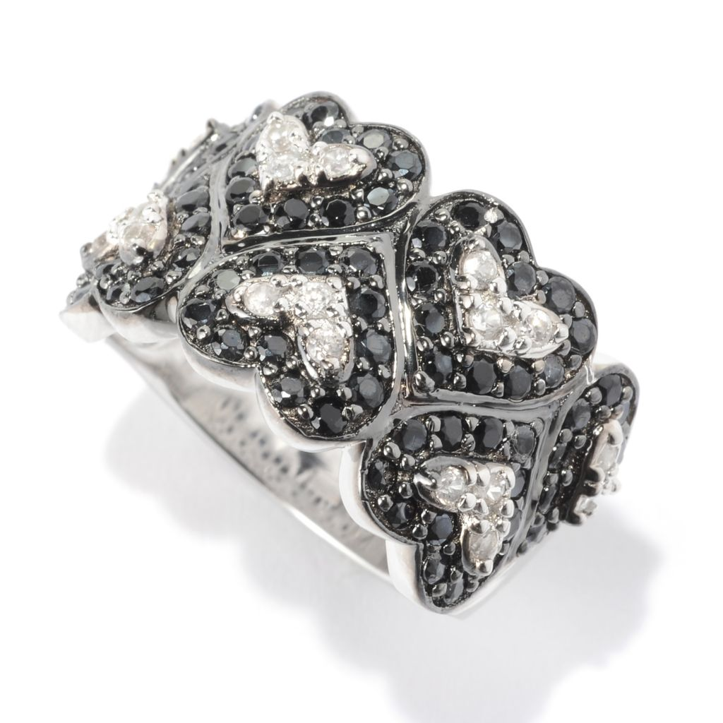 141-092 - NYC II 1.71ctw Round Black Spinel & White Topaz Wide Band Heart Ring