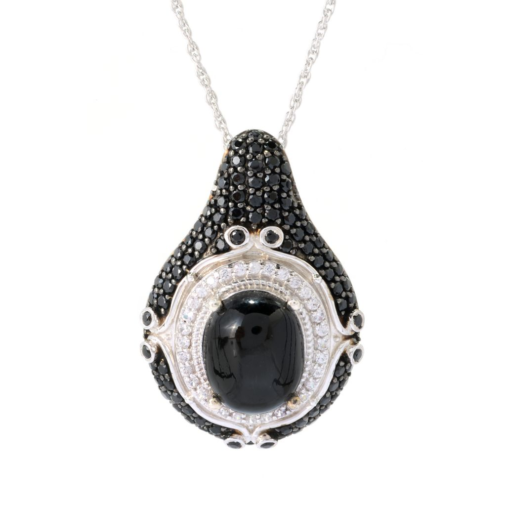141-094 - NYC II 12 x 10mm Oval Black Star Diopside, Black Spinel & White Zircon Pendant