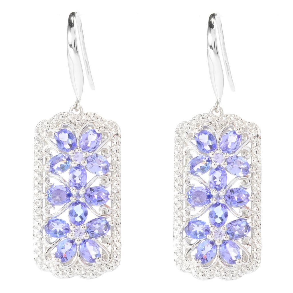 "141-095 - NYC II 1.5"" 3.51ctw Oval & Round Tanzanite Flower Trio Drop Earrings"