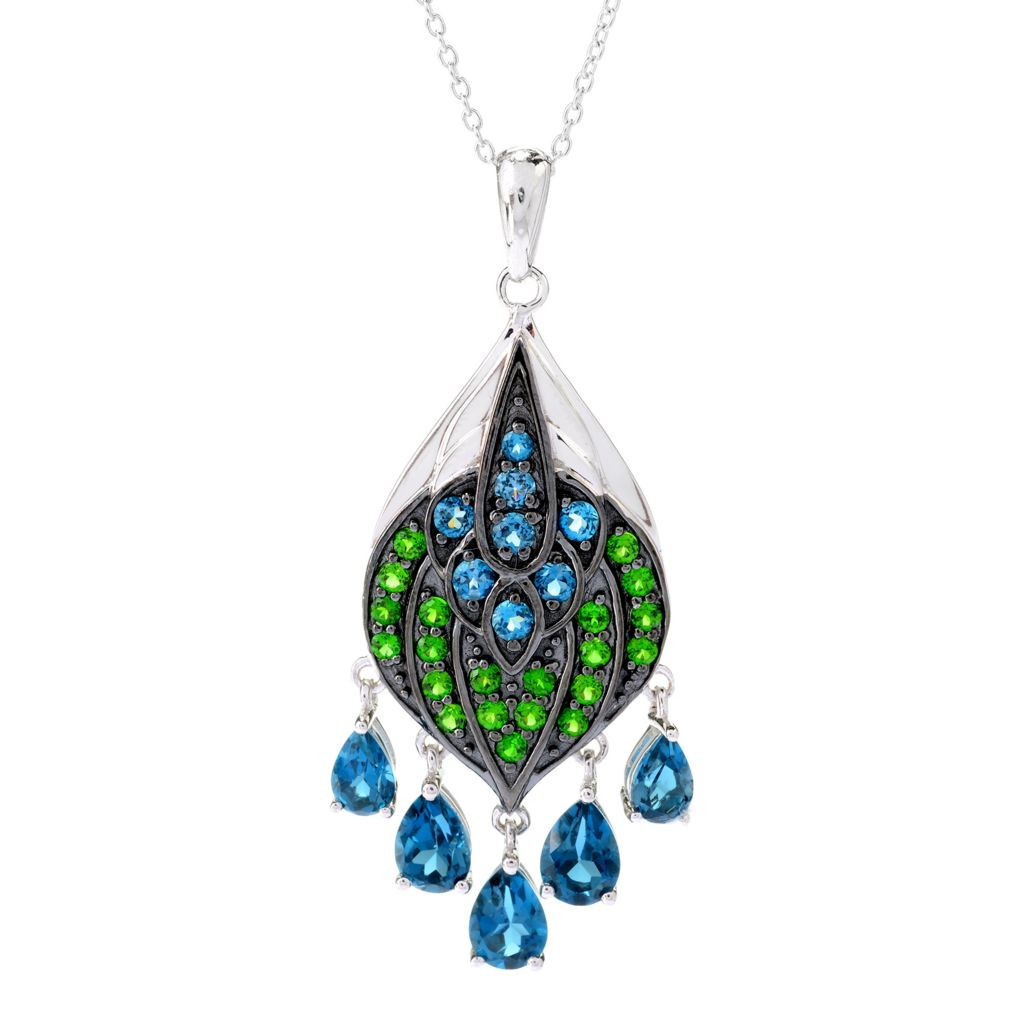 141-096 - NYC II 4.12ctw London Blue Topaz & Chrome Diopside Peacock Pendant w/ Chain