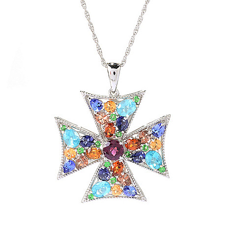 141-097 - NYC II™ 4.38ctw ''The Ites'' Multi Gemstone Cross Pendant w/ 18'' Chain