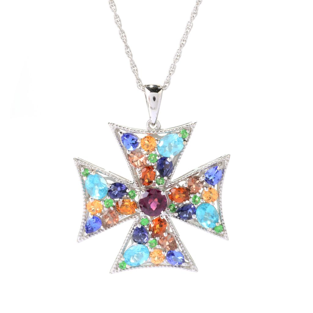 "141-097 - NYC II 4.38ctw ""The Ites"" Multi Gemstone Cross Pendant w/ 18"" Chain"