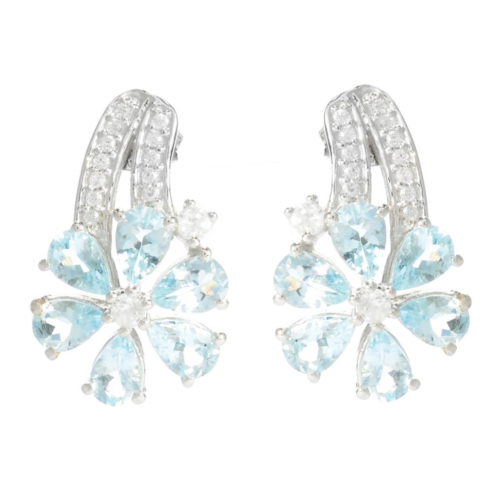 141-098 - NYC II 3.76ctw Aquamarine & White Zircon Flower Earrings