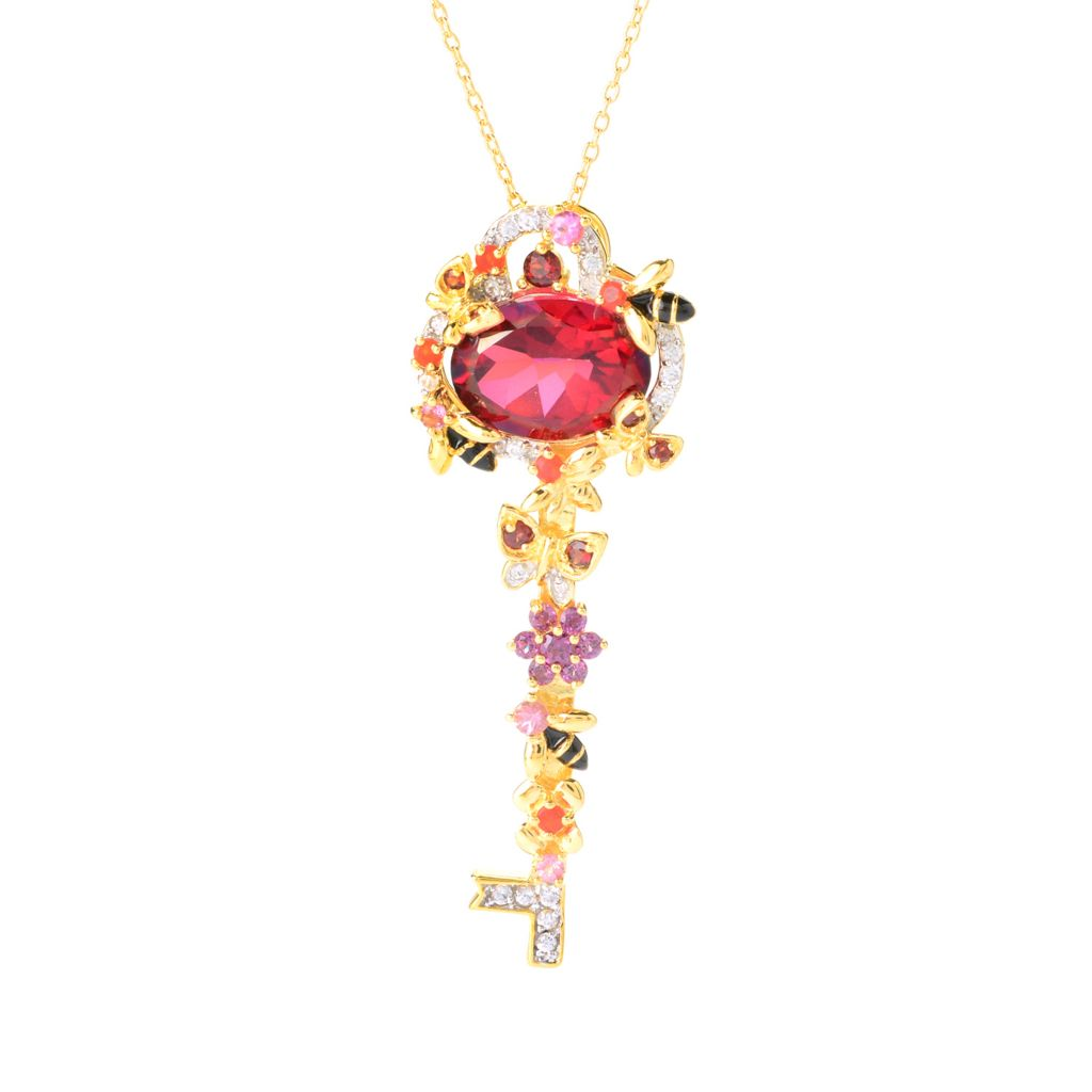 141-099 - NYC II Quartz & Multi Gemstone Flower Key Pendant w/ Chain