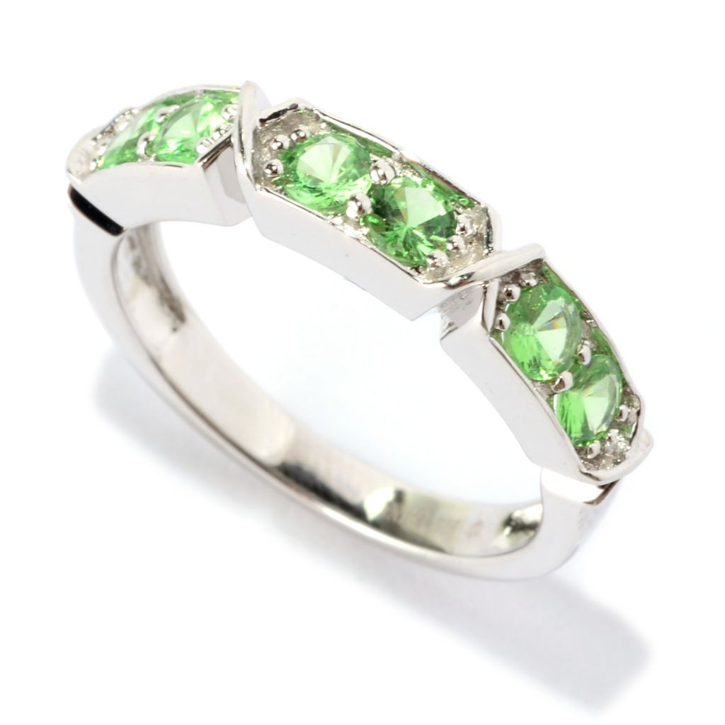 141-114 - Gem Treasures Sterling Silver Round Tsavorite Six-Stone Band Ring