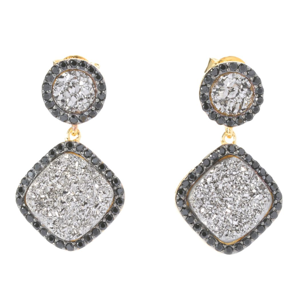 """141-120 - Portofino 18K Gold Embraced™ 1"""" 10mm Drusy & Black Spinel Halo Drop Earrings"""