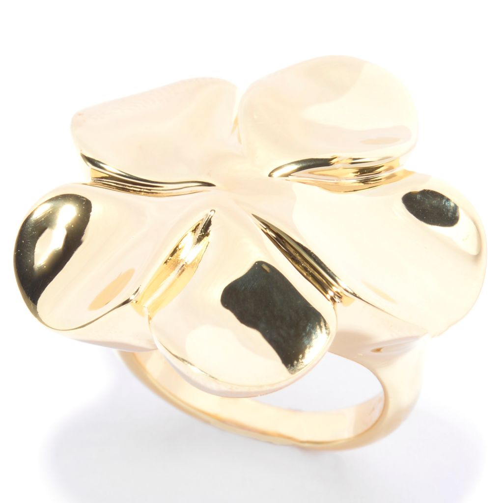 141-122 - Portofino 18K Gold Embraced™ High Polished Flower Ring