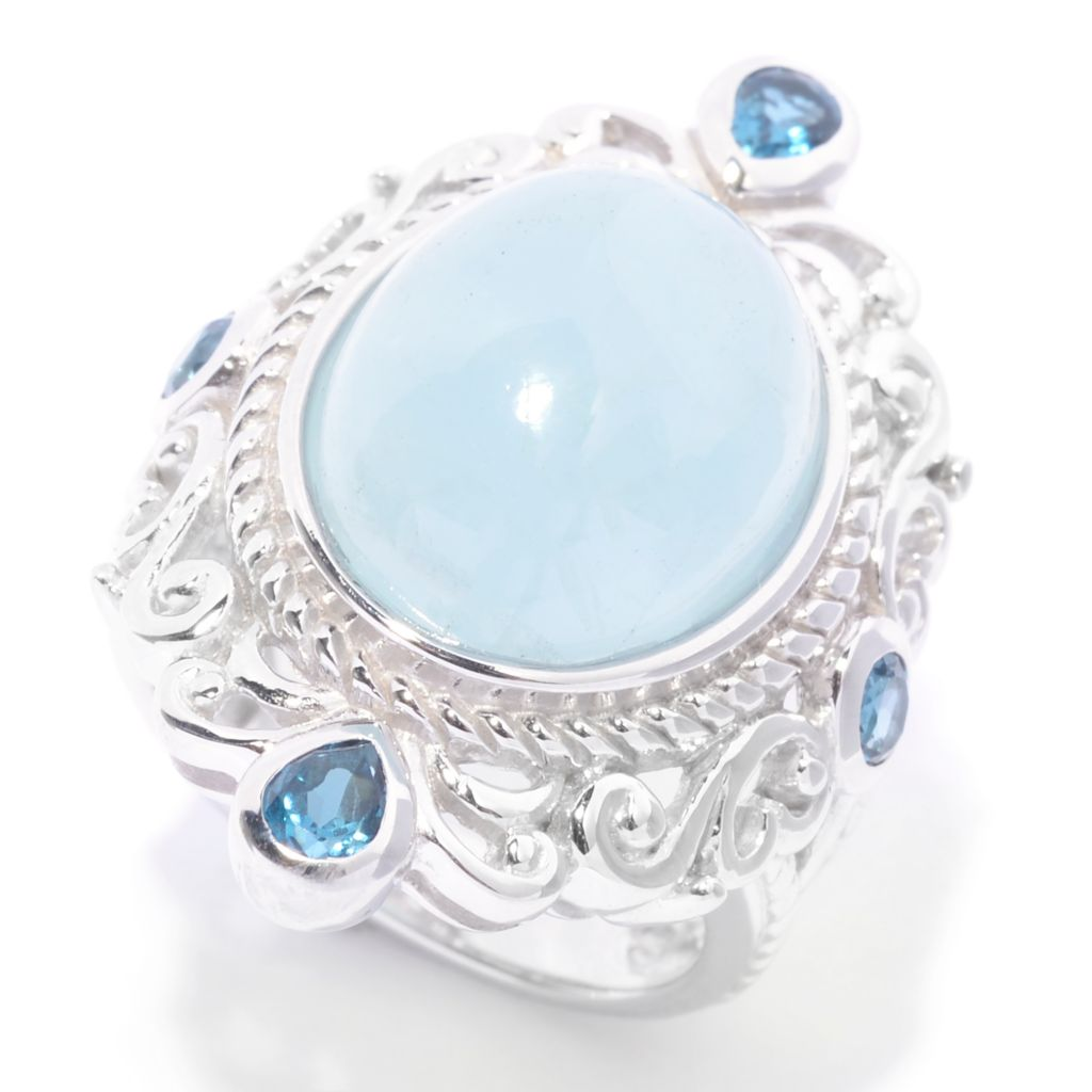 141-126 - Gem Treasures Sterling Silver 16 X 12mm Oval Aquamarine & London Blue Topaz Ring