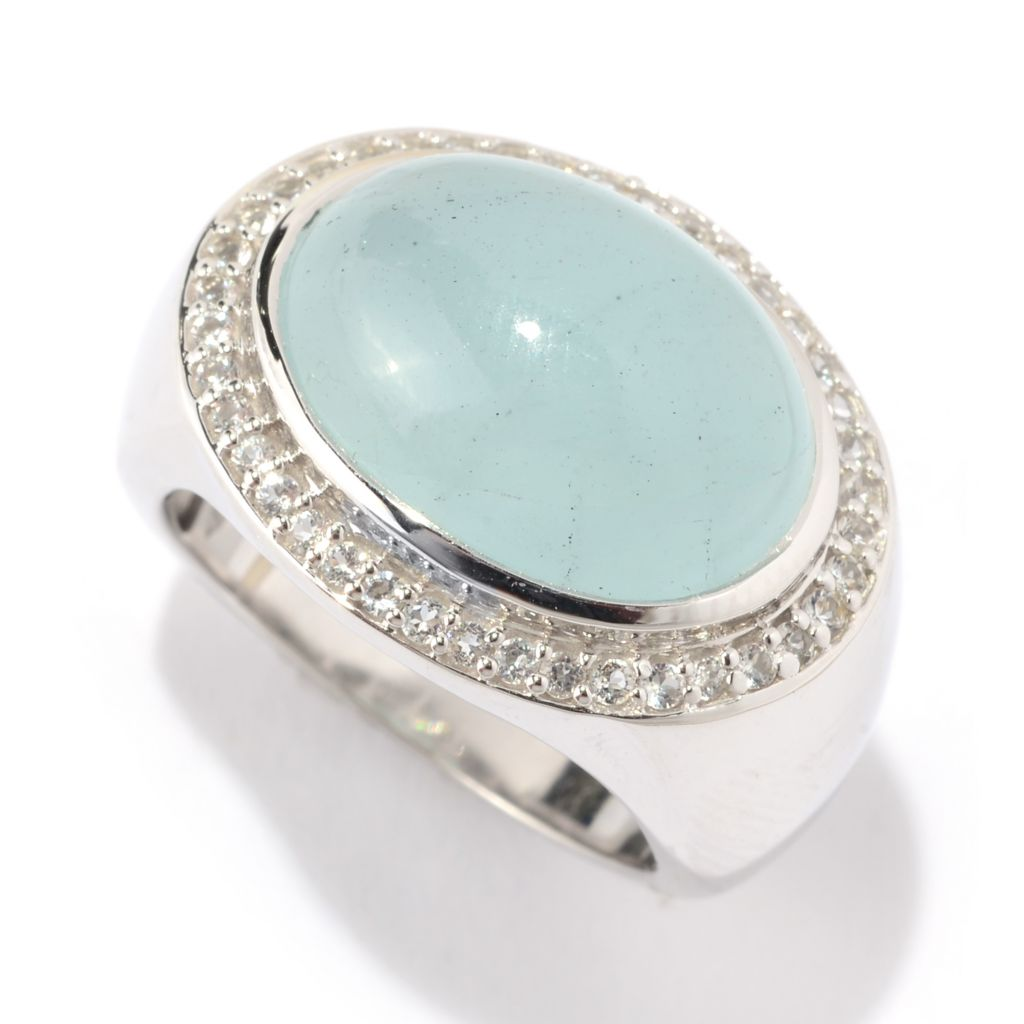 141-128 - Gem Treasures Sterling Silver 16 x 12mm Oval Aquamarine & White Topaz Ring