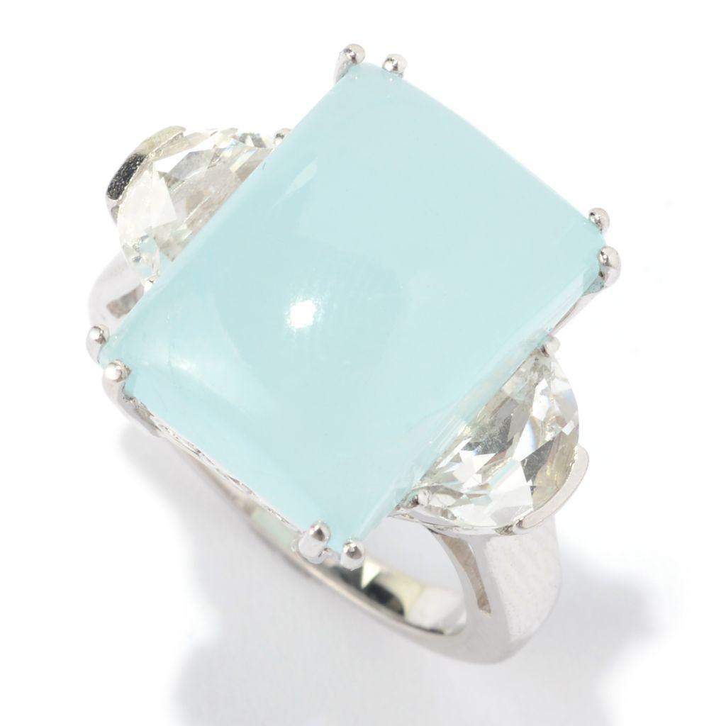 141-129 - Gem Treasures Sterling Silver 16 x 12mm Aquamarine & White Topaz Ring