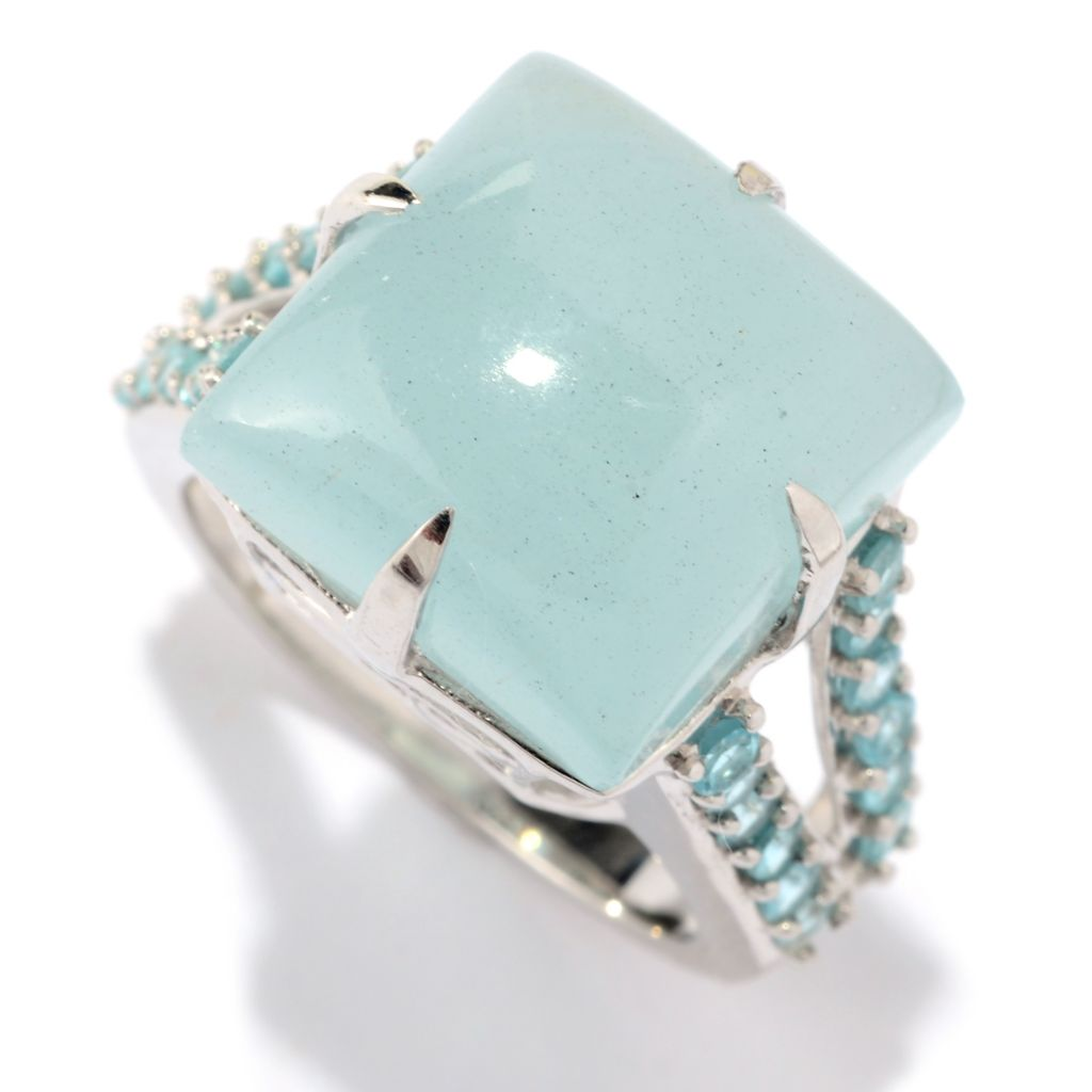 141-130 - Gem Treasures Sterling Silver 14mm Opaque Aquamarine & Apatite Ring