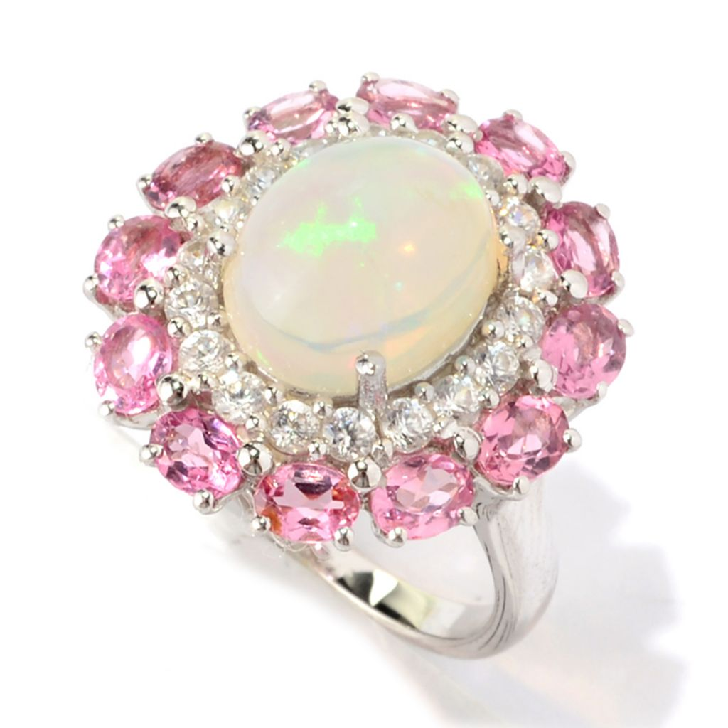 141-131 - Gem Treasures Sterling Silver 11 x 9mm Ethiopian Opal & Multi Gem Ring