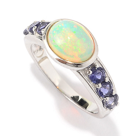 141-132 - Gem Treasures Sterling Silver 9 x 7mm Oval Ethiopian Opal & Iolite Ring