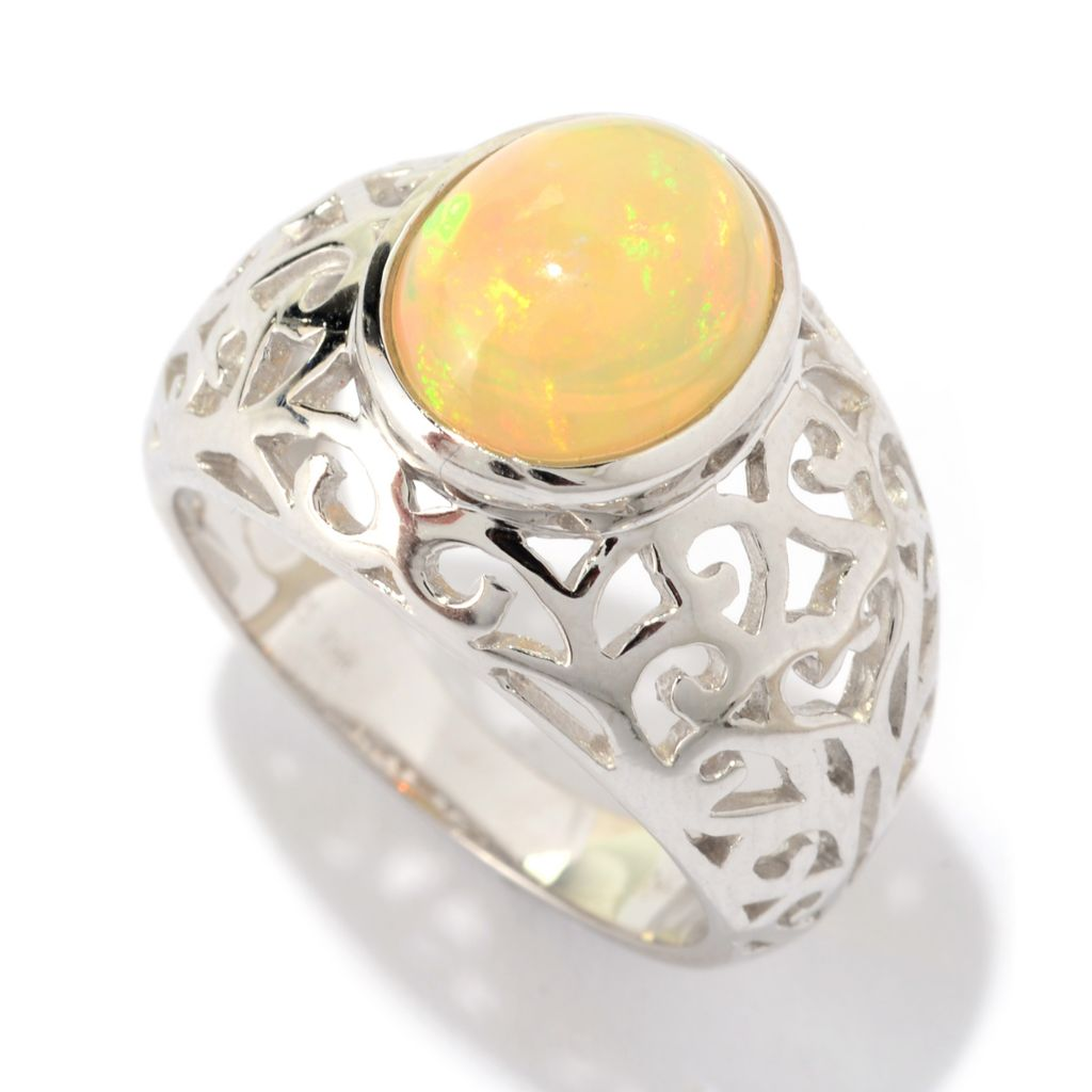 141-133 - Gem Treasures Sterling Silver 11 x 9mm Oval Ethiopian Opal Filigree Dome Ring