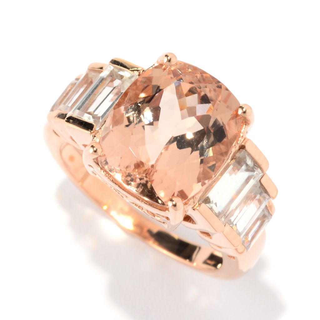 141-134 - Gem Treasures 14K Rose Gold 5.06ctw Morganite & White Zircon Step Ring