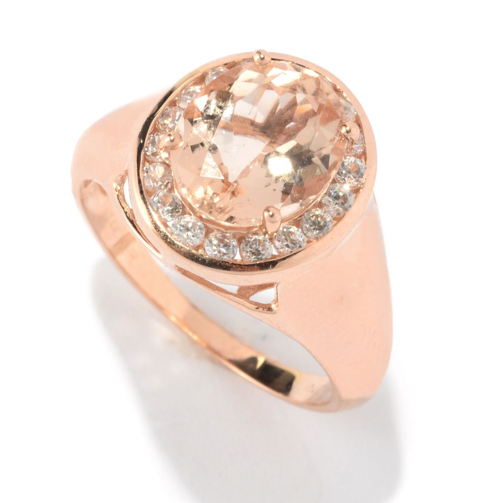 141-135 - Gem Treasures 14K Rose Gold 2.59ctw Oval Morganite & White Zircon Halo Ring