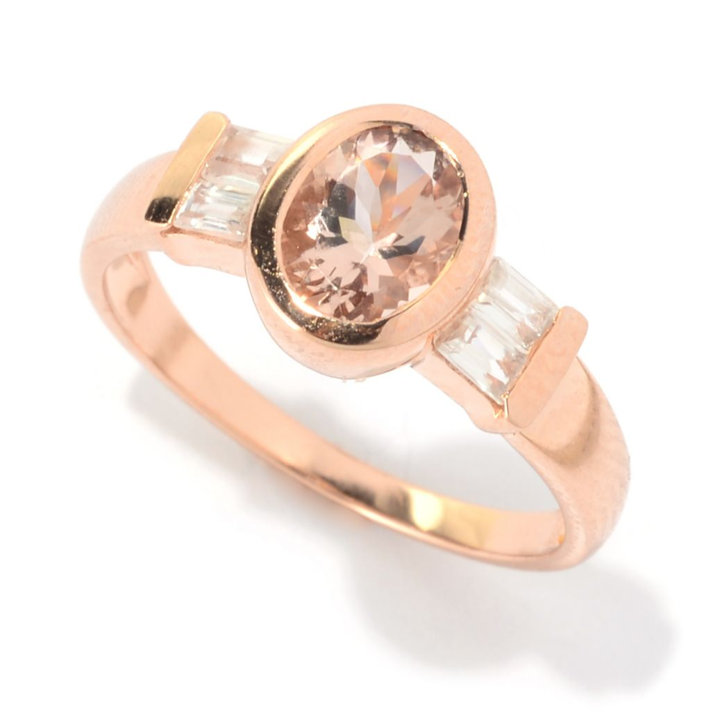141-136 - Gem Treasures 14K Rose Gold 1.39ctw Oval Morganite & White Zircon Band Ring