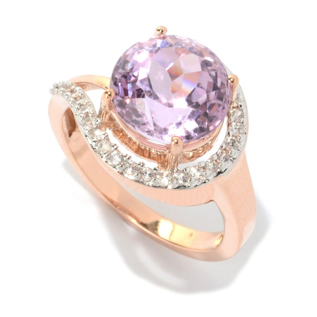 141-138 - Gem Treasures 14K Rose Gold 4.28ctw Kunzite & White Zircon Halo Wrap Ring