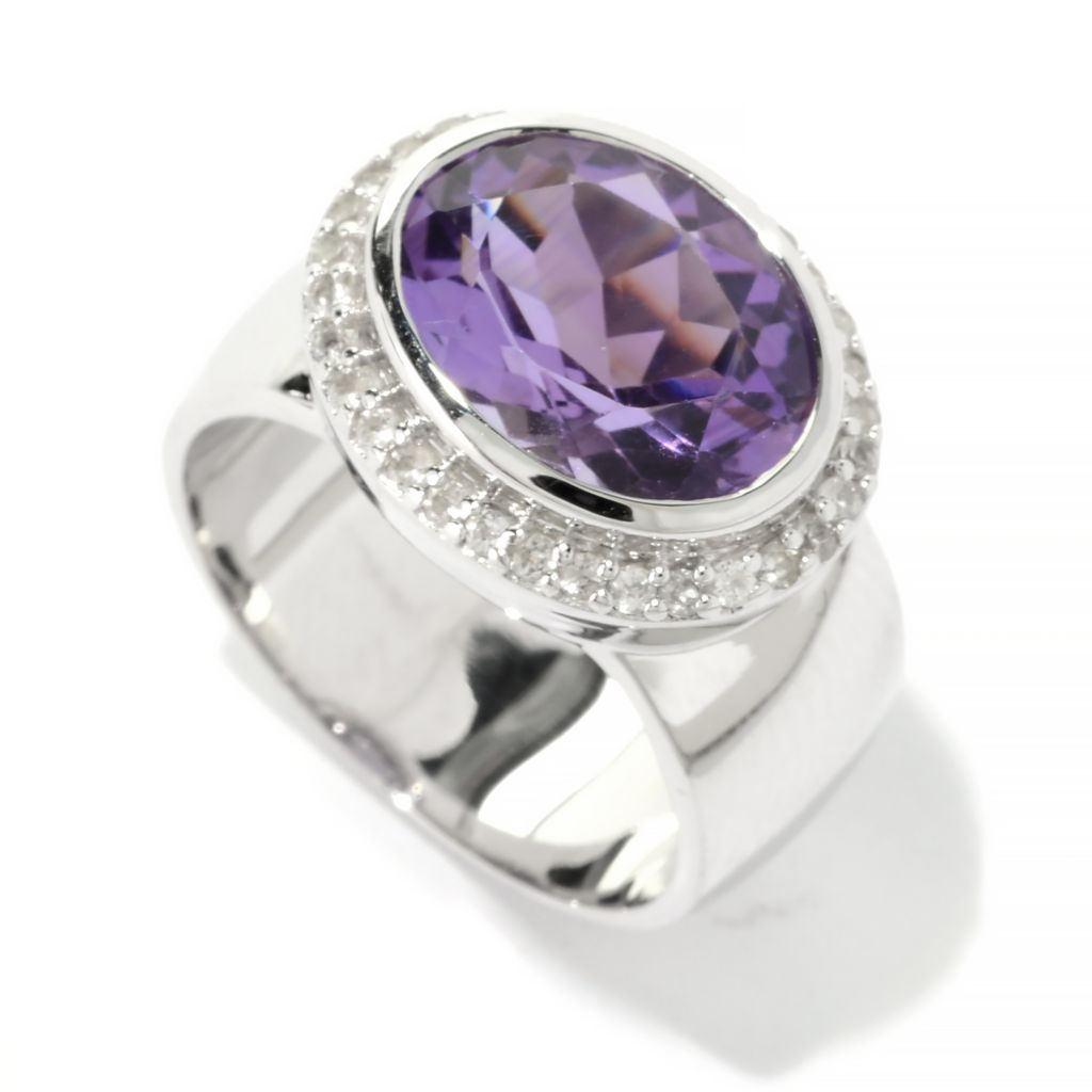 141-139 - Gem Treasures Sterling Silver 3.68ctw Amethyst & White Topaz Halo Ring