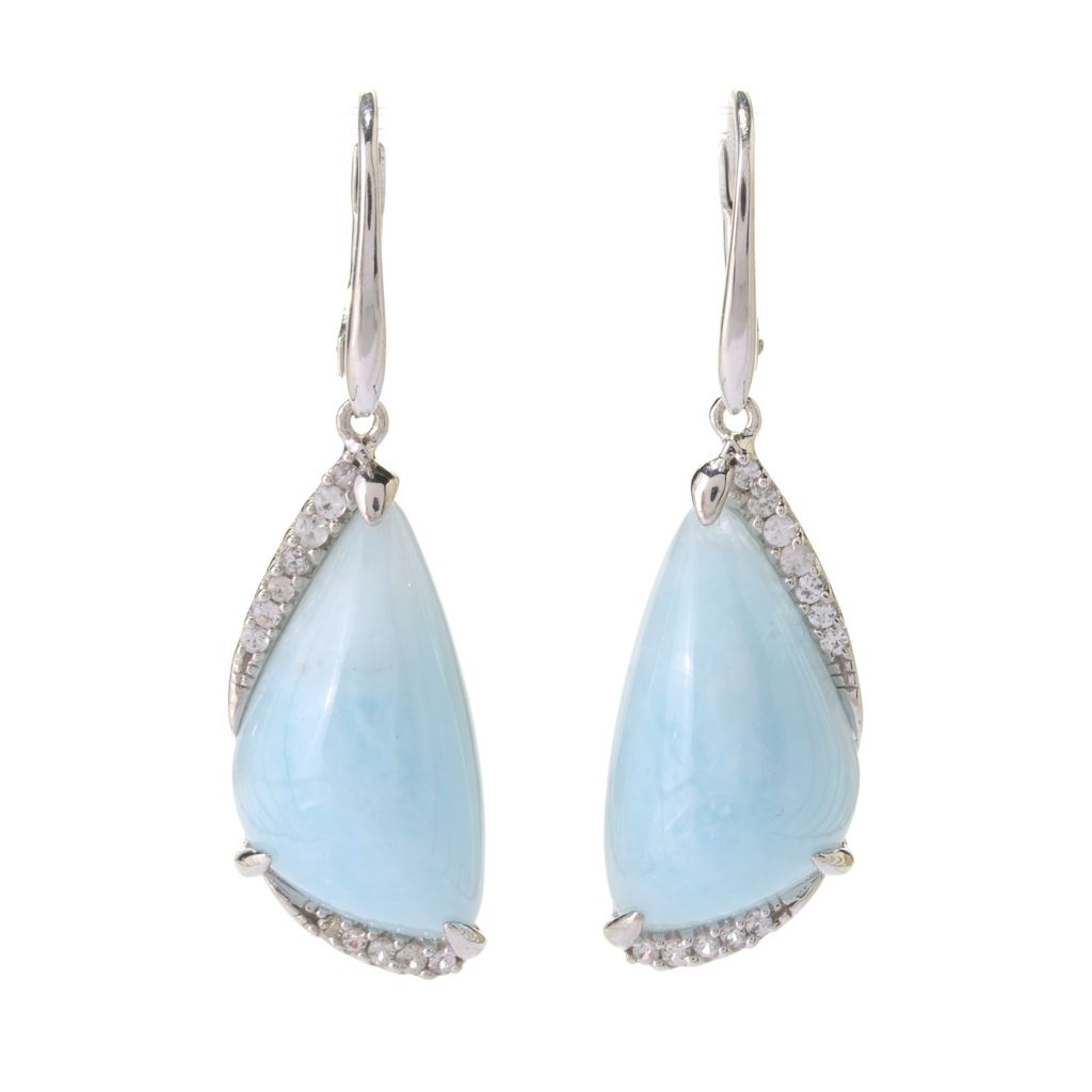 "141-141 - Gem Treasures Sterling Silver 1.5"" 22 x 12mm Aquamarine & White Sapphire Earrings"