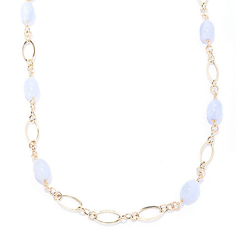 141-167 - Viale18K® Italian Gold 18'' 11 x 8mm Blue Chalcedony Station Necklace
