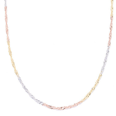 141-168 - Viale18K® Italian Gold 24'' Tri-Color Chain Necklace, 3.32 grams