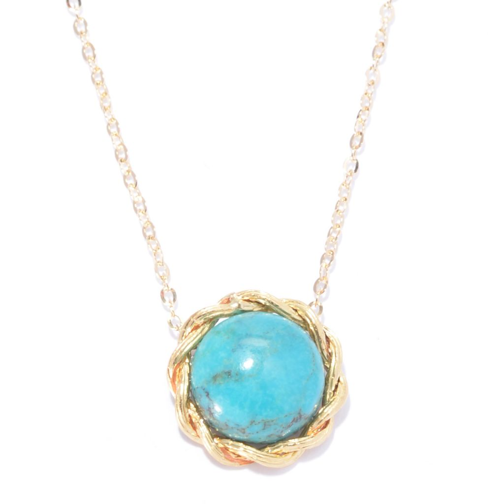 "141-173 - Viale18K® Italian Gold 12mm Round Turquoise Pendant w/ 18"" Chain"