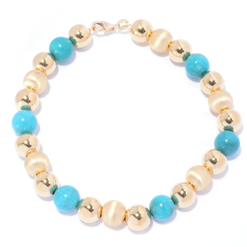 141-174 - Viale18K® Italian Gold 8mm Turquoise & Multi Textured Beaded Bracelet