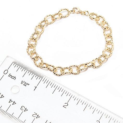 141-176 - Viale18K® Italian Gold Textured Oval Link Bracelet