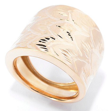 141-179 - Viale18K® Italian Gold Textured Diamond Cut Wide Ring