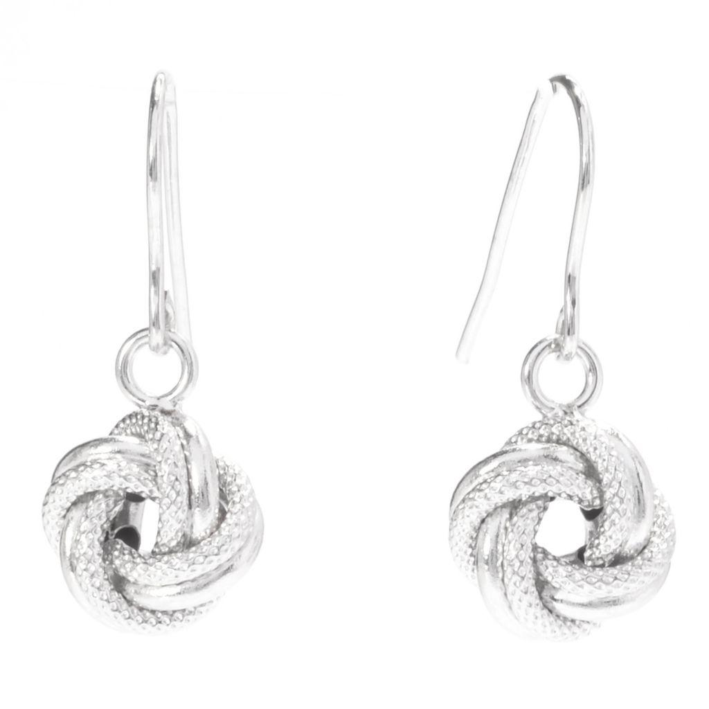"141-182 - Viale18K® Italian Gold 1"" Textured & Polished Knot Drop Earrings"