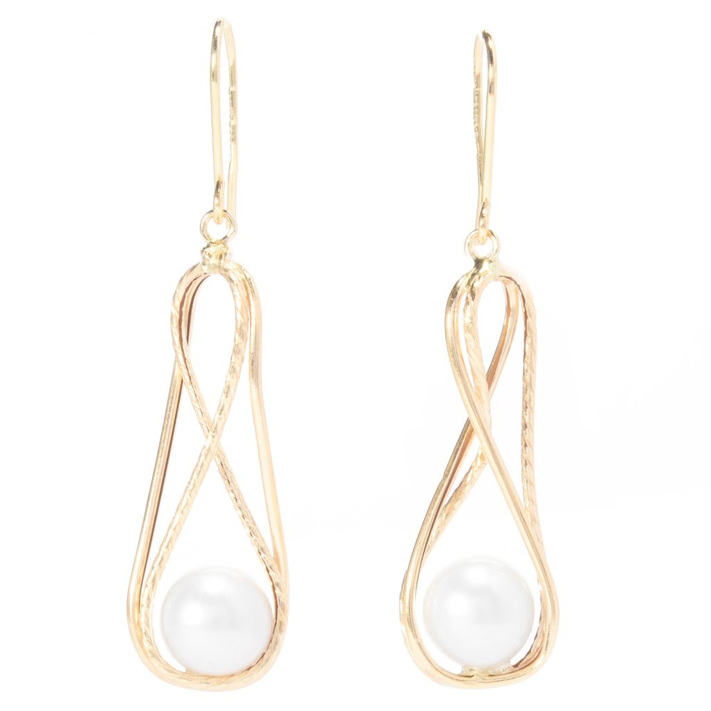 "141-185 - Viale18K® Italian Gold 2"" 8mm Freshwater Cultured Pearl Drop Earrings"