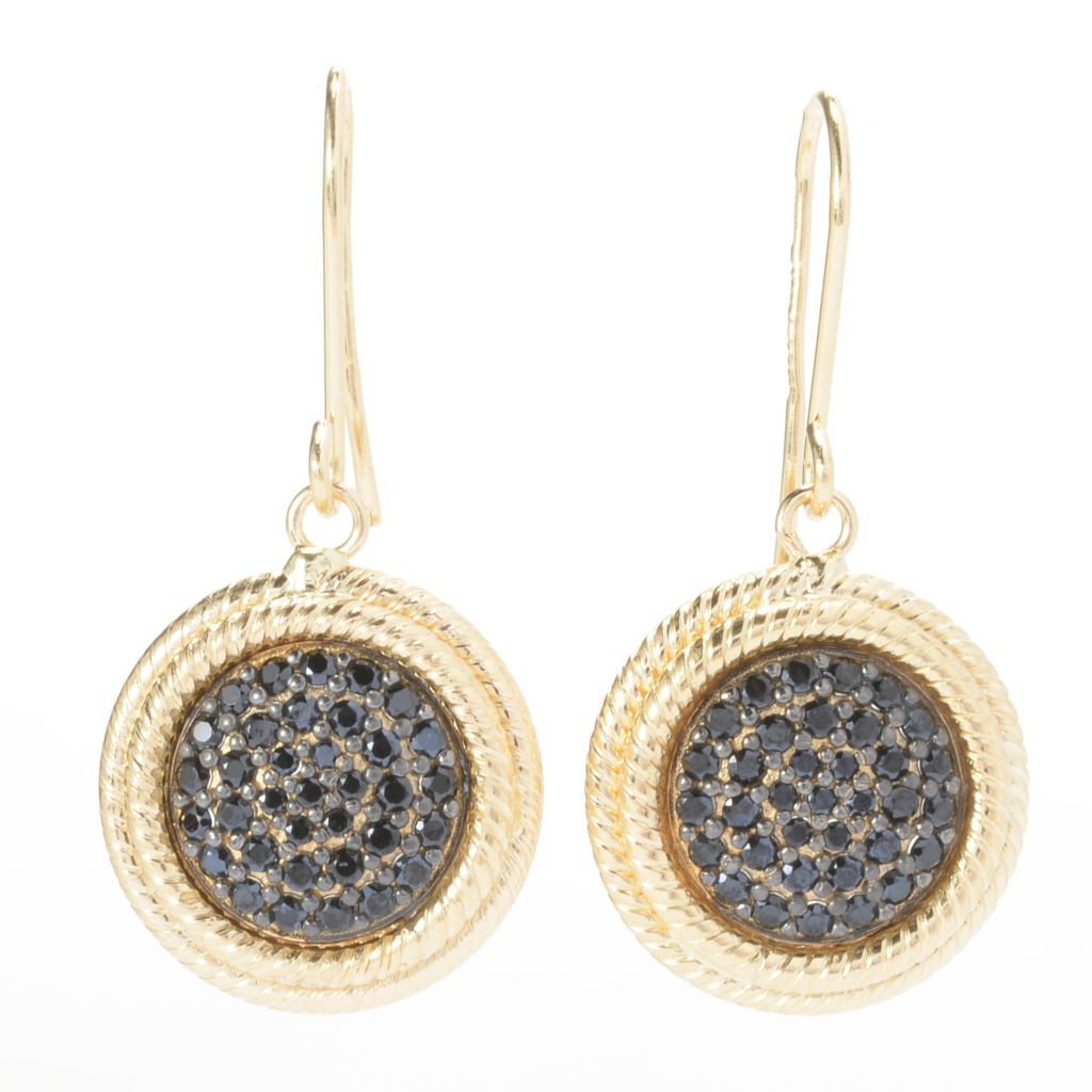 "141-186 - Viale18K® Italian Gold 1"" Black Spinel Twisted Round Drop Earrings"