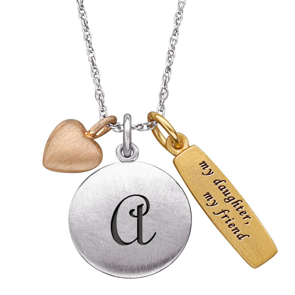 "141-196 - Sterling Silver ""My Daughter My Friend"" Personalized Initial & Charm Pendant w/ 20"" Chain"