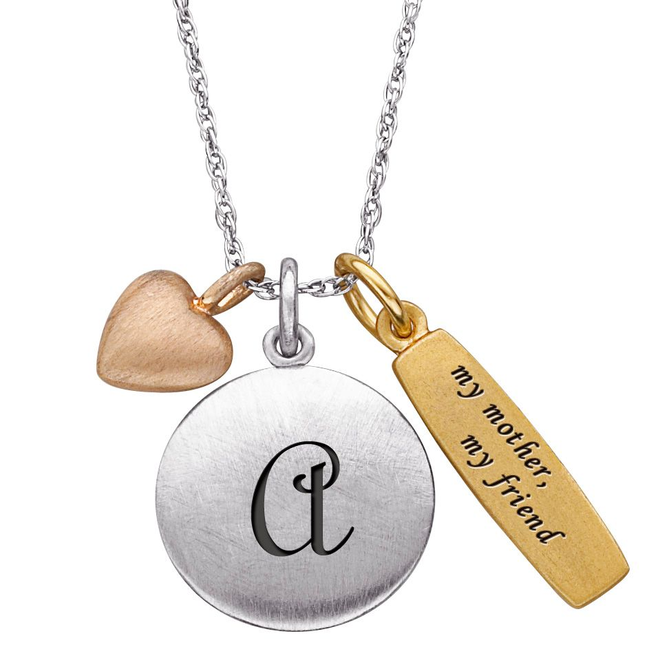 "141-197 - Sterling Silver ""My Mother My Friend"" Personalized Initial & Charm Pendant w/ 20"" Chain"