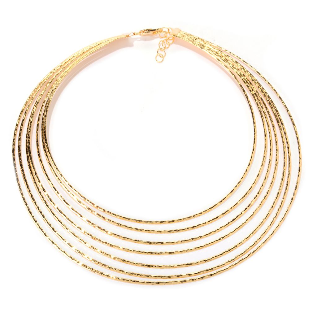 141-199 - Toscana Italiana 18K Gold Embraced™ Diamond Cut Graduated Omega Necklace