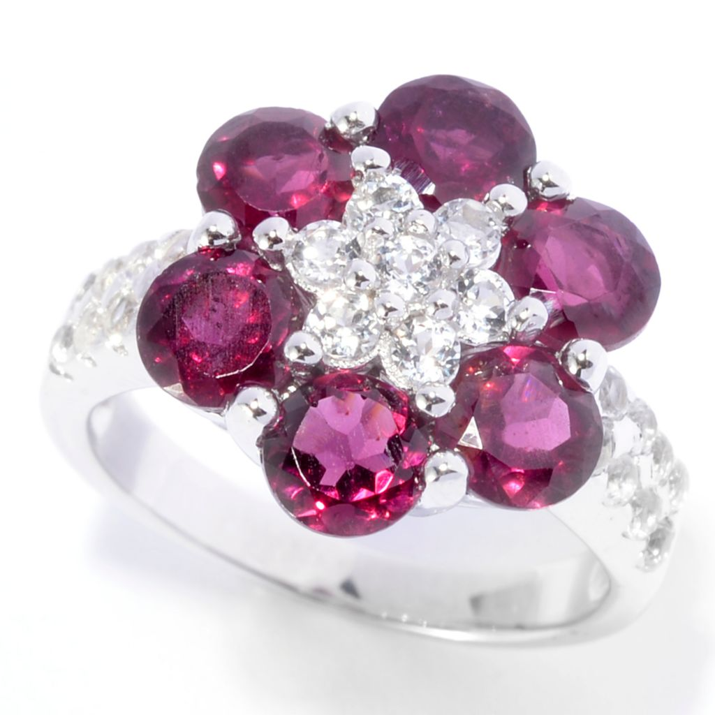 141-200 - Gem Treasures Sterling Silver 4.05ctw Rhodolite Garnet & White Topaz Flower Ring