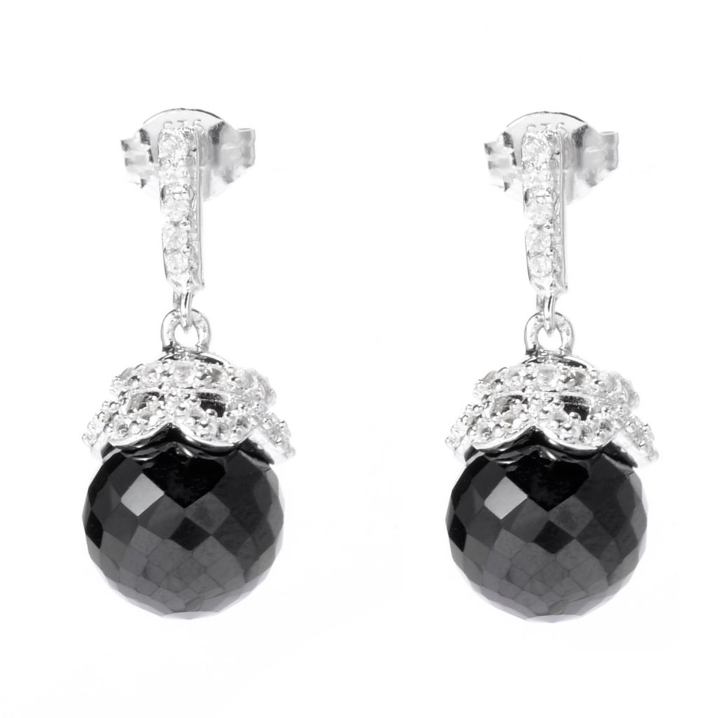141-201 - Gem Treasures Sterling Silver 7.35ctw Black Spinel & White Topaz Earrings
