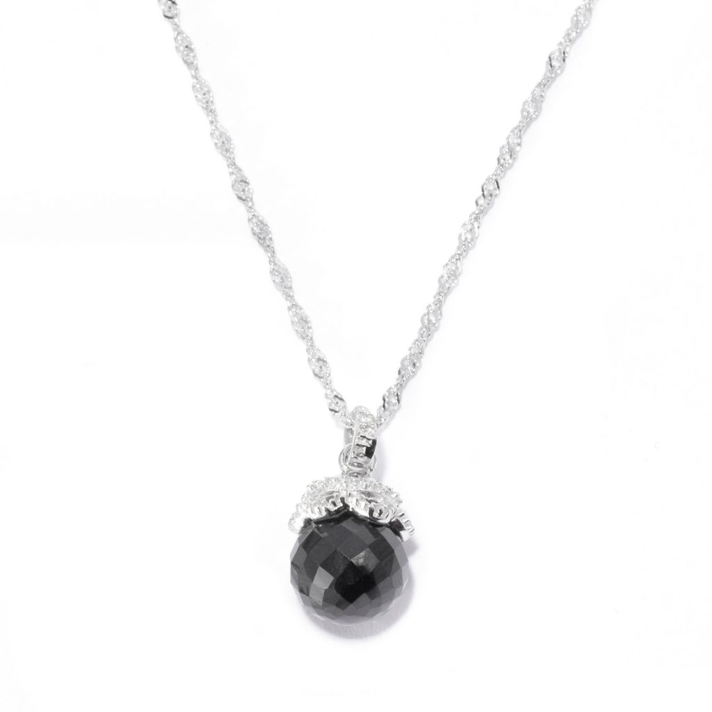 141-202 - Gem Treasures Sterling Silver 3.68ctw Black Spinel & White Topaz Pendant