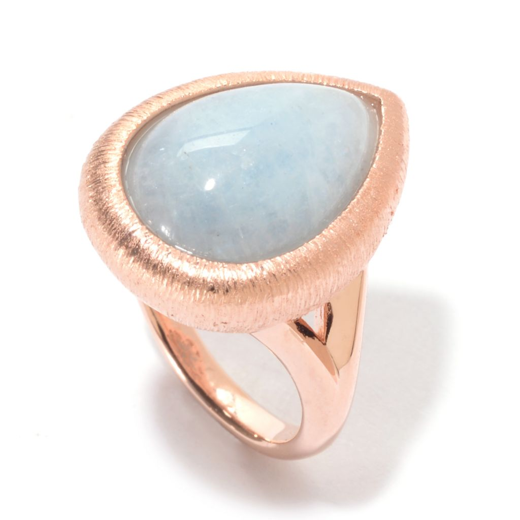 141-204 - Michelle Albala 16 x 12mm Teardrop Aquamarine Split Shank Ring