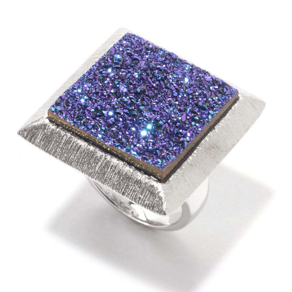 141-205 - Michelle Albala 18mm Purple Drusy Agate Textured Square Ring