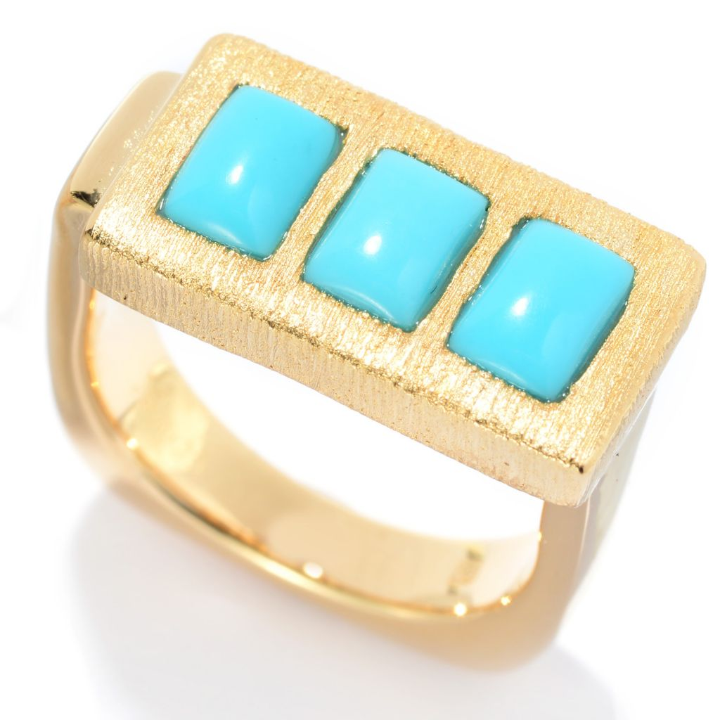 141-206 - Michelle Albala Sleeping Beauty Turquoise Three-Stone Euro Shank Ring