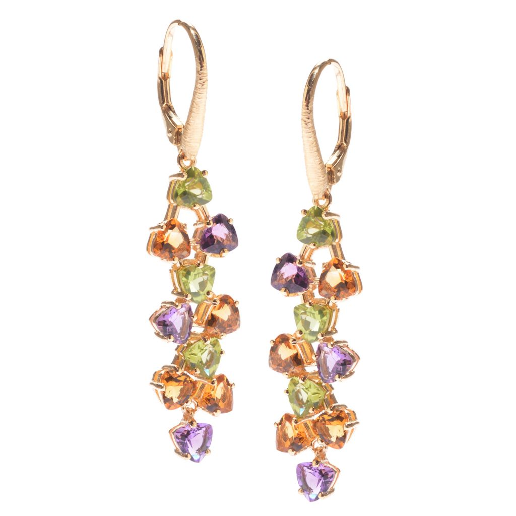 "141-207 - Michelle Albala 1.75"" 4.75ctw Citrine, Peridot & Amethyst Drop Earrings"