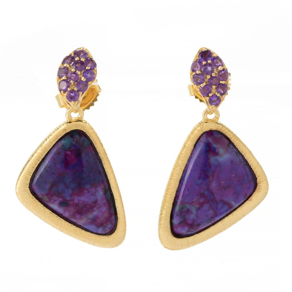 "141-209 - Michelle Albala 1.25"" 18 x 12mm Purple Kingman Mohave Turquoise & Amethyst Earrings"