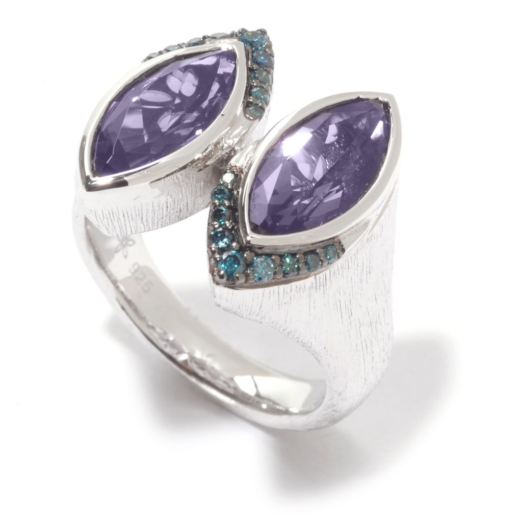 141-210 - Michelle Albala 2.68ctw Double Marquise Amethyst & Blue Diamond Textured Ring