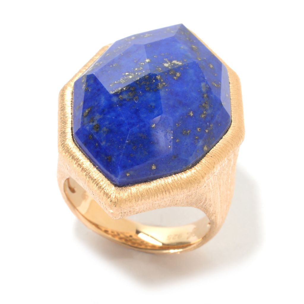 141-211 - Michelle Albala 27 x 19mm Fancy Shaped Lapis Brushed Elongated Ring