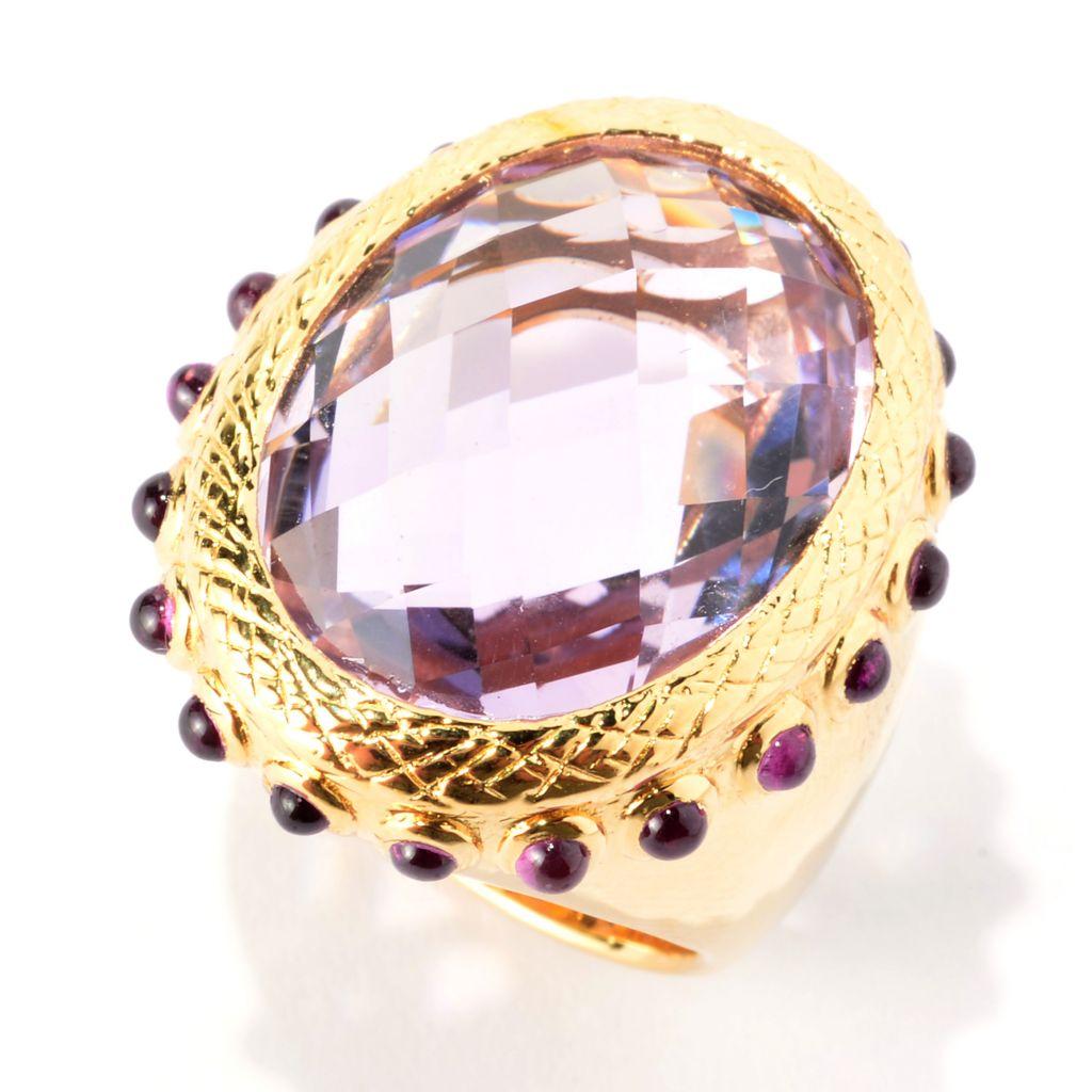 141-212 - Michelle Albala 14.00ctw Oval Amethyst & Rhodolite Garnet Wide Band Ring