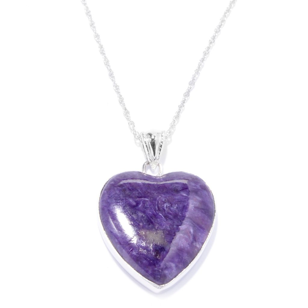 "141-219 - Gem Insider Sterling Silver 21 x 20mm Charoite Heart Pendant w/ 18"" Chain"