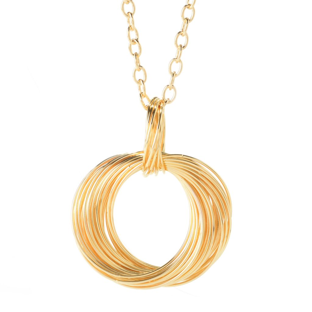 "141-220 - Portofino Signature 18K Gold Embraced™ Interlocking Multi Ring Pendant w/ 36"" Chain"