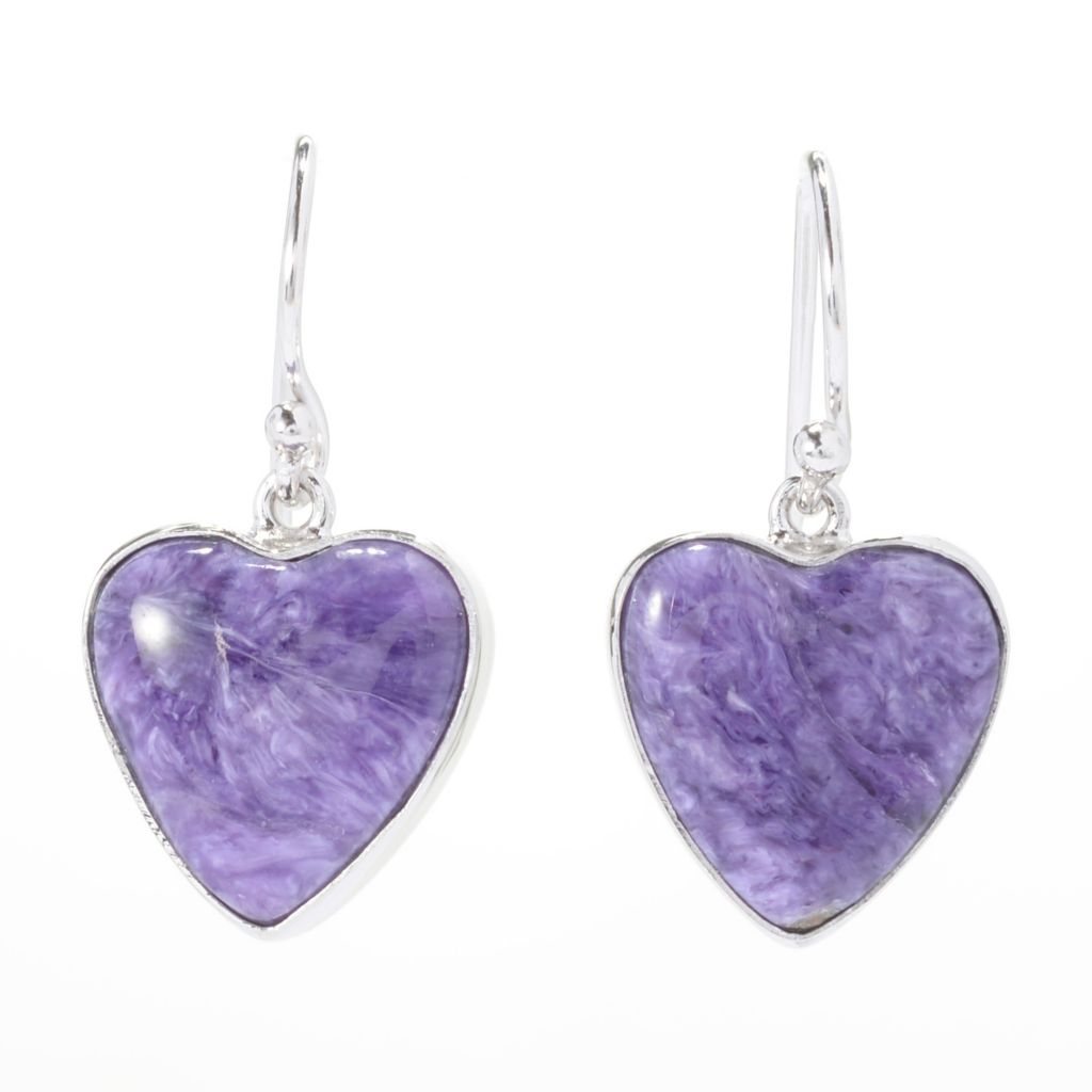"141-221 - Gem Insider Sterling Silver 1"" 14 x 13mm Heart Earrings"